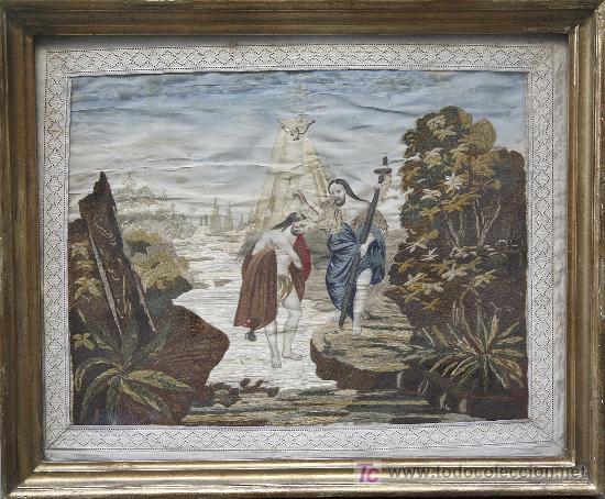 BORDADO EN SEDA ENMARCADO, BAUTIZO DE CRISTO. S.XIX, 35X44 CM. MARCO: 47X57 CM. (Antigüedades - Moda - Bordados)
