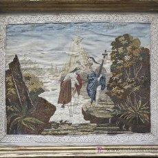Antigüedades: BORDADO EN SEDA ENMARCADO, BAUTIZO DE CRISTO. S.XIX, 35X44 CM. MARCO: 47X57 CM.. Lote 22155583