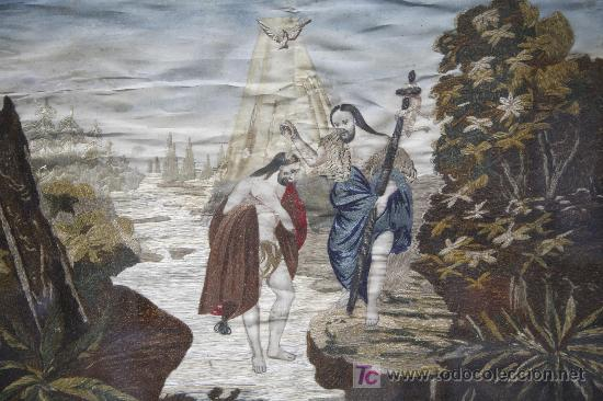 Antigüedades: bordado en seda enmarcado, bautizo de cristo. s.XIX, 35x44 cm. marco: 47x57 cm. - Foto 3 - 22155583