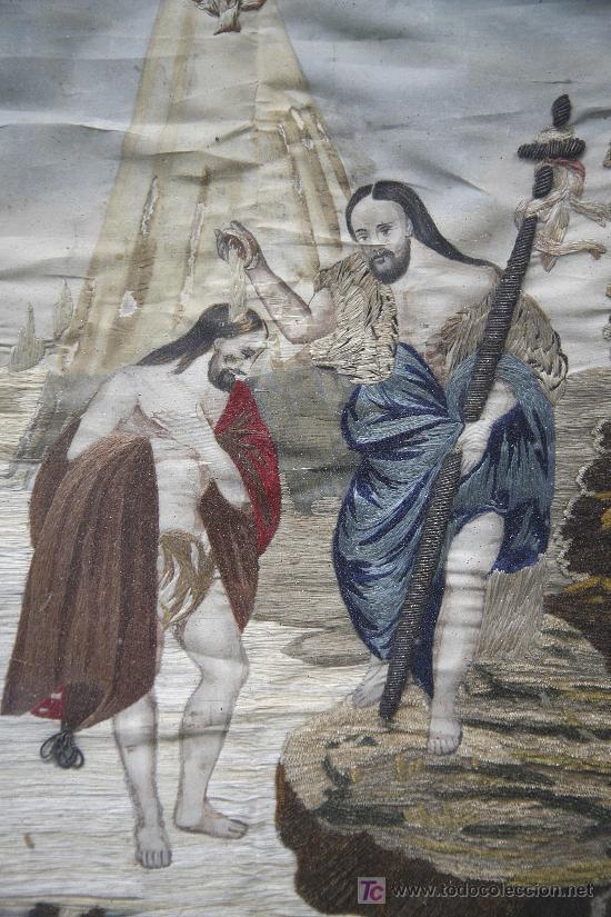 Antigüedades: bordado en seda enmarcado, bautizo de cristo. s.XIX, 35x44 cm. marco: 47x57 cm. - Foto 2 - 22155583