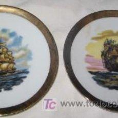 Antigüedades: PAREJA DE PLATITOS DE PORCELANAS SANBO, VELEROS. Lote 26843508