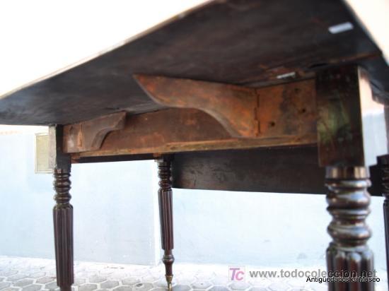 Antigüedades: MESA DE ALAS CAOBA XIX INGLESA - Foto 4 - 21111095