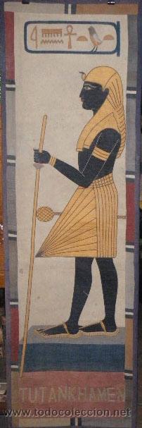 TAPIZ EGIPCIO TUTANKHAMEN (Antigüedades - Hogar y Decoración - Tapices Antiguos)