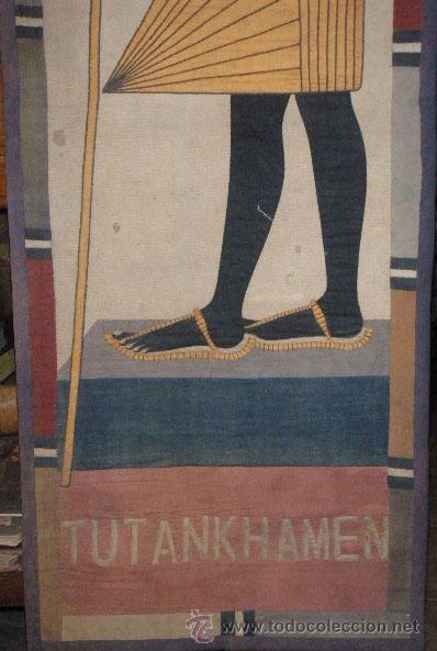 Antigüedades: TAPIZ EGIPCIO TUTANKHAMEN - Foto 3 - 26576277