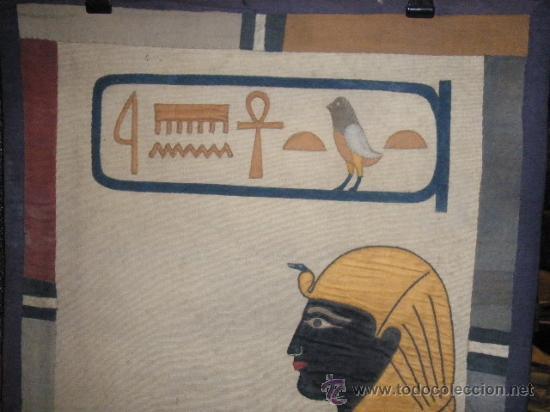 Antigüedades: TAPIZ EGIPCIO TUTANKHAMEN - Foto 4 - 26576277