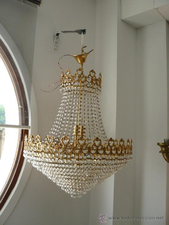 Espectacular lampara cristal y metal de techo comprar - Lamparas cristal antiguas ...