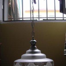 Antigüedades: ANTIGUA LÁMPARA DE TECHO DE CRISTAL TALLADO. Lote 27369914