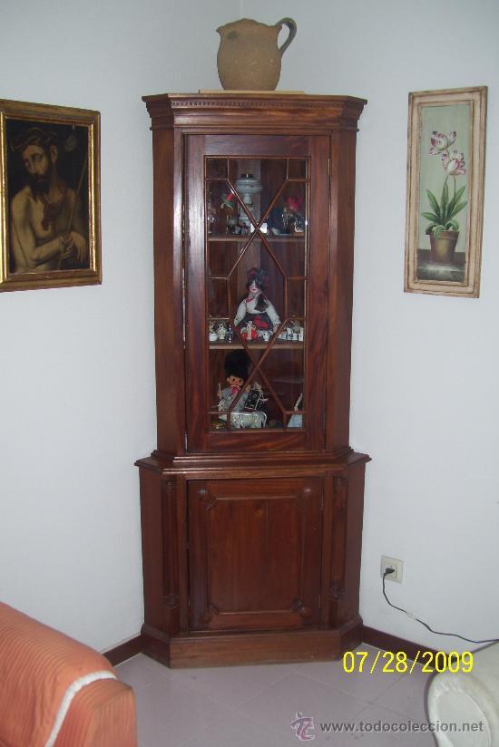 VITRINA ESQUINERA INGLESA DE CAOBA CON NIDO DE ABEJA. (Antigüedades - Muebles Antiguos - Vitrinas Antiguos)