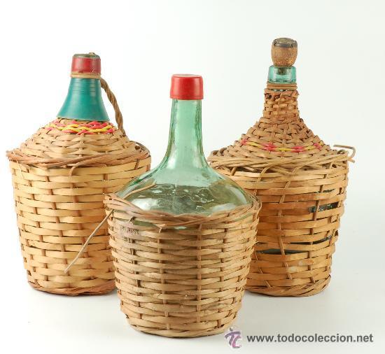 lote de tres viejas garrafas de cristal para vi comprar