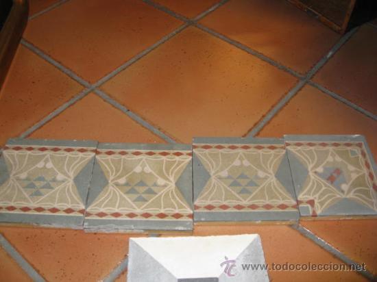 LOTE 4 BALDOSAS HIDRAULICAS 16.5X16.5 CM - 5 KG LAS 4, MENSAJERÍA 6.50€ (Antigüedades - Porcelanas y Cerámicas - Azulejos)