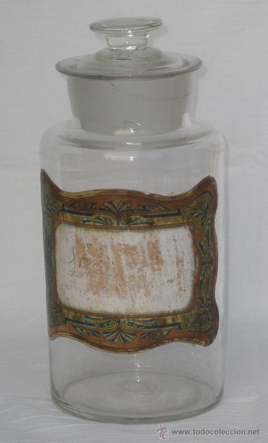 BOTE O FRASCO DE FARMACIA, CRISTAL SOPLADO. (Antigüedades - Cristal y Vidrio - Farmacia )
