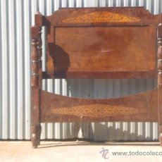 Antigüedades: PRECIOSA CAMA DE CAOBA CON MARQUETERÍA.. Lote 27432778