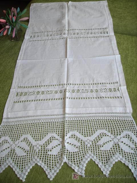 Precioso panel cortina lino beige ganchillo man comprar cortinas antiguas en todocoleccion - Cortinas lino beige ...