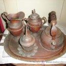 Antigüedades: CONJUNTO BANDEJA, TETERA, LECHERA, AZUCARERA Y OTRO DE BRONCE Y COBRE . Lote 26443992
