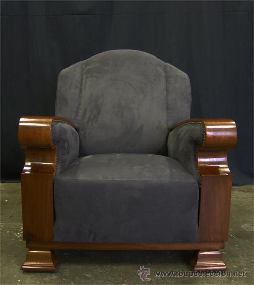 Importante sill n art dec de caoba y nogal comprar for Sillones antiguos