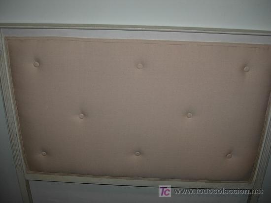 liquidacion cabecero de cama en decape blanco roto de cm tapizado con tela de saco