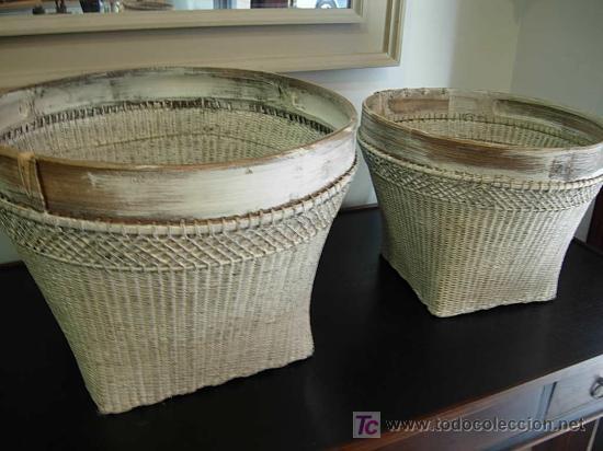 Decorativos cestos de mimbre en tono gris para comprar utensilios del hogar antiguos en - Cestos decorativos ...
