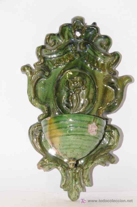 BENDITERA EN CERÁMICA ESMALTADA. PROCEDENCIA LA BISBAL (GIRONA). SIGLO XIX (Antigüedades - Porcelanas y Cerámicas - La Bisbal)
