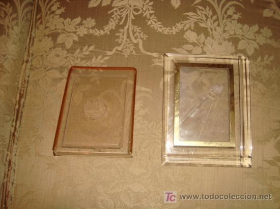 PAREJA DE MARCOS DE METRAQUILATO , 17 X 12 Y 19 X 15 CM (Antigüedades - Hogar y Decoración - Portafotos Antiguos)