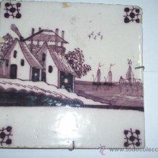 Antigüedades: AZULEJO DELFT SIGLO XIX EN MANGANESO. Lote 27039582