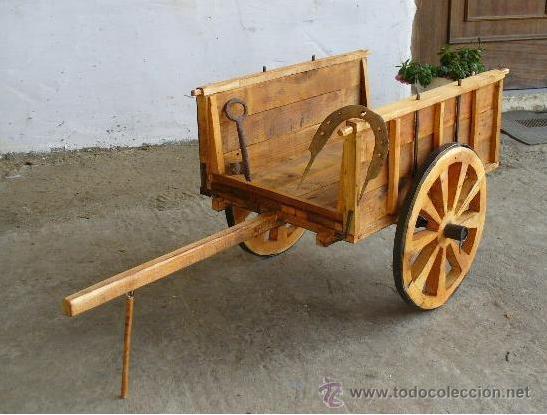 Carro bueyes de madera comprar agricultura antigua en for Carros de madera para jardin