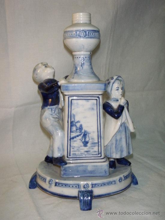 PIE DE LAMPARA DE PORCELANA DE DELFT (Antigüedades - Porcelana y Cerámica - Holandesa - Delft)
