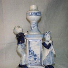 Antigüedades: PIE DE LAMPARA DE PORCELANA DE DELFT. Lote 27131762