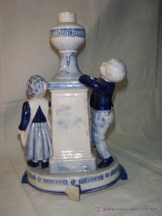 Antigüedades: PIE DE LAMPARA DE PORCELANA DE DELFT - Foto 2 - 27131762