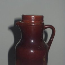 Antigüedades: JARRA CERAMICA POPULAR VIDRIADA CON TAPA. Lote 23657974