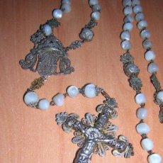 Antigüedades: PRECIOSO ROSARIO DE PLATA FILIGRANA Y BOLAS DE NACAR (SIGLO XIX). Lote 27373906