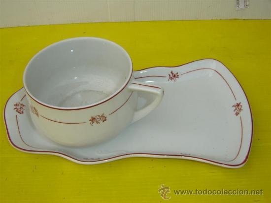 TAZON Y BANDEJA DE PORCELANA (Antigüedades - Porcelanas y Cerámicas - Otras)