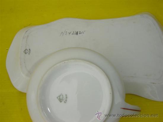 Antigüedades: tazon y bandeja de porcelana - Foto 2 - 15238467