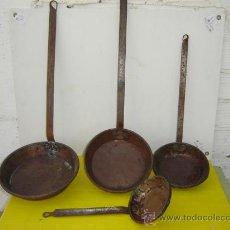 Antigüedades: 4 SARTENES DE COBRE Y HIERRO FORJA. Lote 15238580