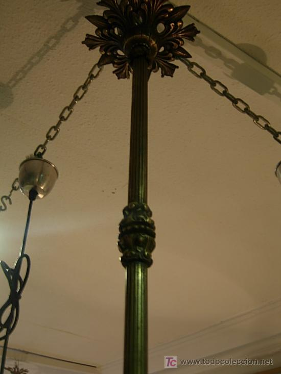Antigüedades: LAMPARA DE BRONCE DE TECHO EN FORMA DE GLOBO DE CRISTAL - Foto 3 - 27570673