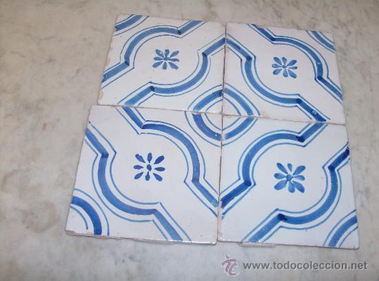 CUATRO AZULEJOS DE MANISES DEL XIX (Antigüedades - Porcelanas y Cerámicas - Manises)