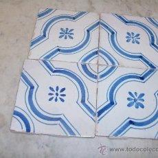 Antigüedades: CUATRO AZULEJOS DE MANISES DEL XIX. Lote 26609942