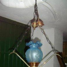 Antigüedades: LAMPARA COBRE Y TULIPA AZUL. Lote 15461843