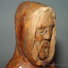 Antigüedades: ANTIGUA FIGURA MONJE TALLADO EN MADERA.. Lote 157066948