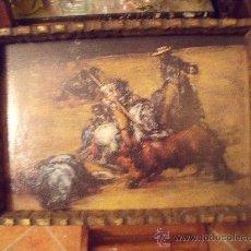 Antigüedades - PRECIOSO CUADRO DE LAMINA CON MARCO DE MADERA PINTADO EN ORO VIEJO. - 27053249