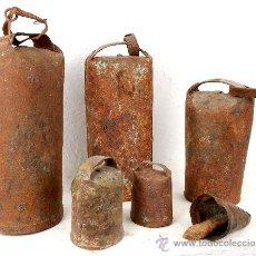 Antigüedades: LOTE DE SEIS ANTIGUOS CENCERROS.. Lote 20587507