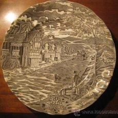Antigüedades: PLATO PONTESA DECORACION GRIS. Lote 19551626