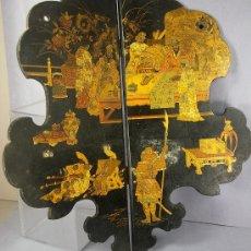 Antigüedades: ESQUINERO ANTIGUO DE LACA CHINA EN NEGRO Y ORO DE FINALES DEL SIGLO XIX -. Lote 26863994