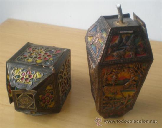 Antigüedades: PAREJA DE FAROLES .. De cartón troquelado - Foto 2 - 27624238