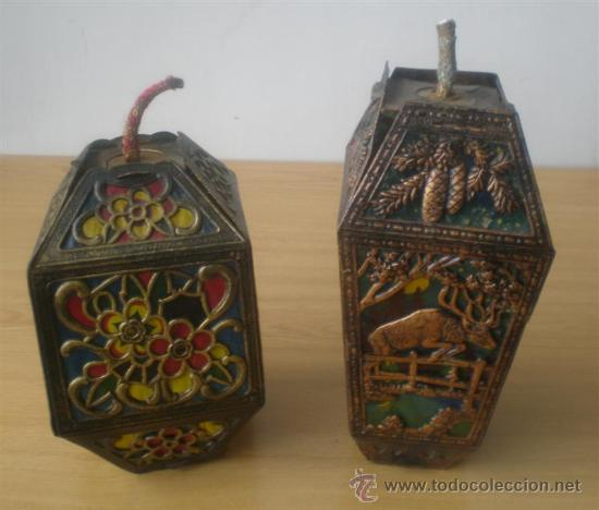 Antigüedades: PAREJA DE FAROLES .. De cartón troquelado - Foto 3 - 27624238