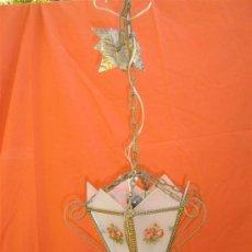Antigüedades: FAROL DE CRISTALES Y ALAMBRE DORADOS. Lote 15617247