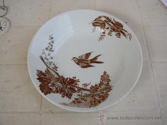 ANTIGUO PLATO DECORADO LOZA CERAMICA SEÑAL SAN CLAUDIO OVIEDO ASTURIAS (Antigüedades - Porcelanas y Cerámicas - San Claudio)
