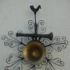 Antigüedades: ALMIREZ CON MAJA Y ALMIRECERO EN FORJA ESPAÑOLA -ARTÍCULO MUY DECORATIVO-. DIÁMETRO DEL ALMIREZ.-12 . Lote 26443571