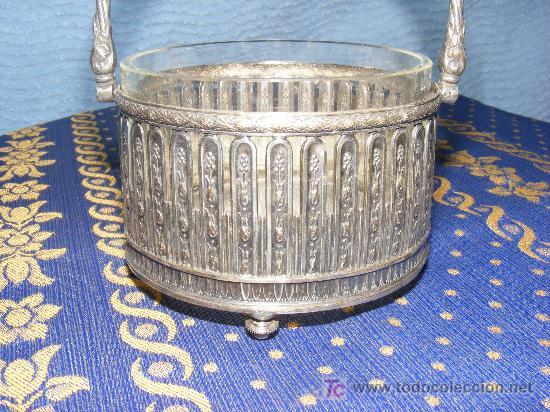 AZUCARERO DE METAL PLATEADO (Antigüedades - Platería - Bañado en Plata Antiguo)