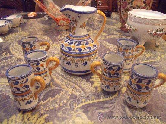 JUEGO DE JARRAS DE VINO TALAVERA (Antigüedades - Porcelanas y Cerámicas - Talavera)