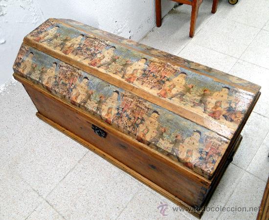 Ba l o arc n antiguo de madera pino de terue comprar - Baules antiguos de madera ...